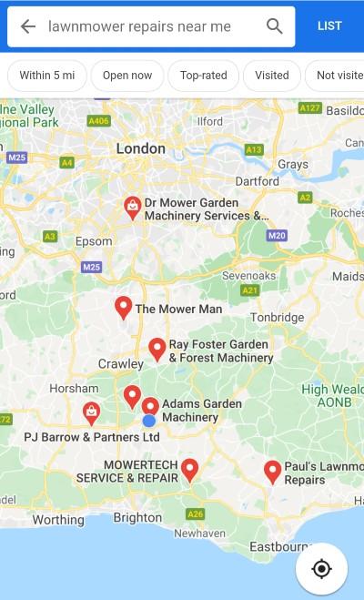 Google Maps lawnmover repairs near me