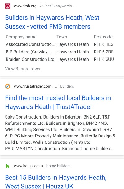 Citations, [builders haywards heath] mobile SERP