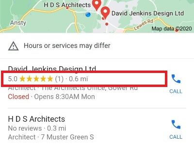 Customer reviews, [architect near me] SERP