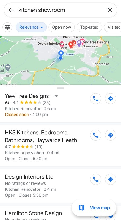 Local search marketing, [kitchen showroom] search