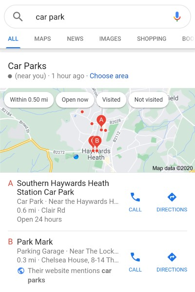 Organic results, for the search [car park]