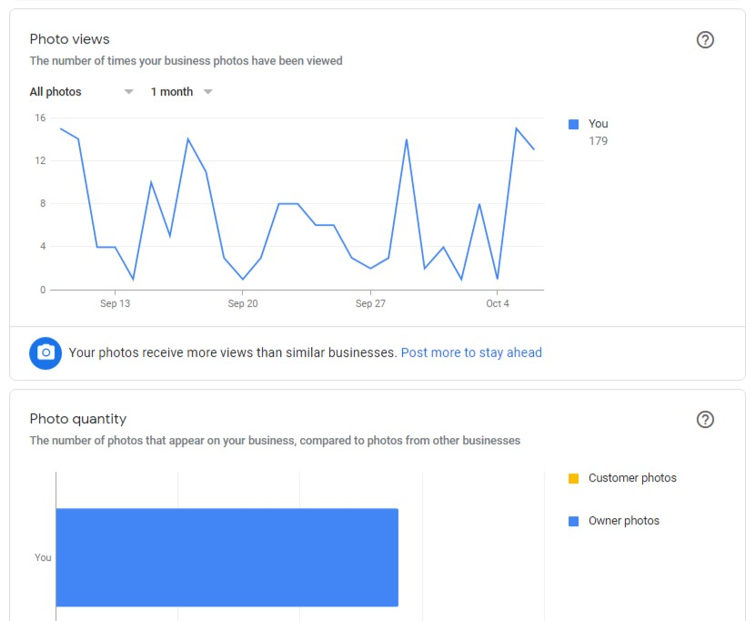 Profile review & reporting, Google My Business insights