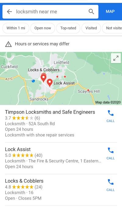 Rank tracking, [locksmith near me] SERP