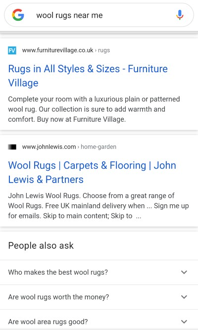 Search engine results pages (SERP) [wool rugs near me] search