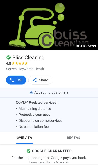 Google Local Service Ads, Bliss Cleaning, ad profile, mobile