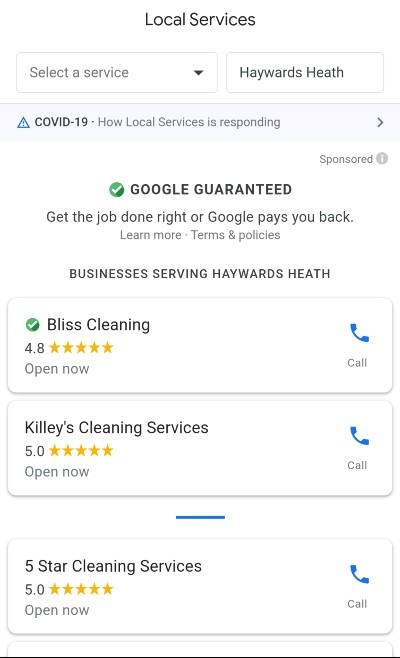 Google Local Service Ads [carpet cleaning services] mobile, all ads