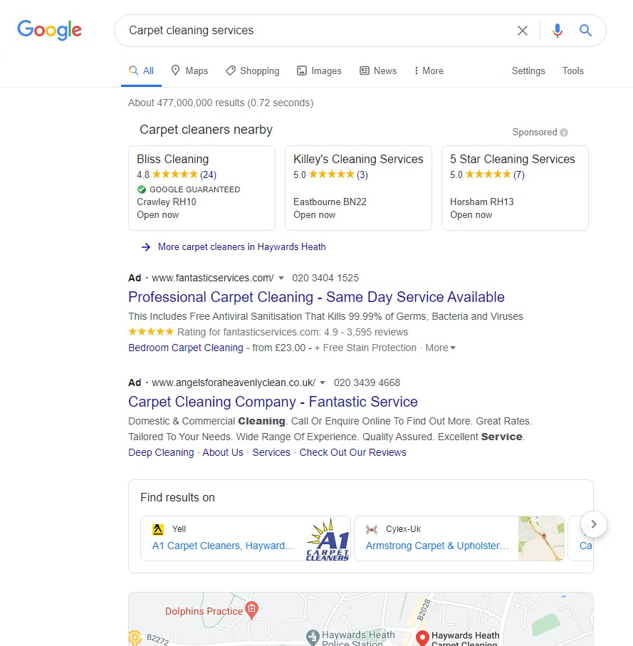 Google Local Service Ads [carpet cleaning services] desktop results