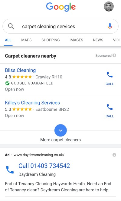 Google Local Service Ads [carpet cleaning services] mobile results