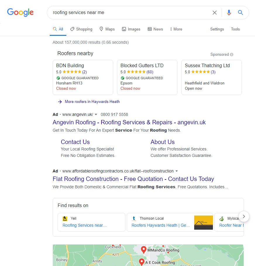 Google Local Service Ads [roofing services near me] desktop results