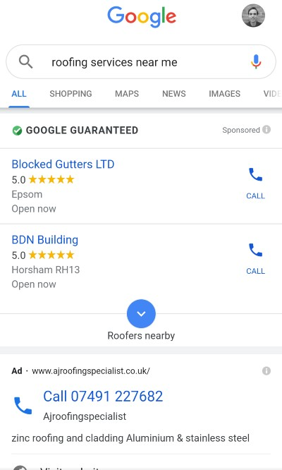 Google Local Service Ads [roofing services near me] mobile results