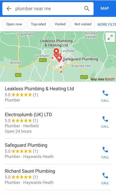[plumber near me] mobile SERP, Local Finder