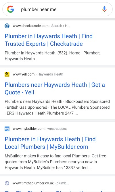 [plumber near me] mobile SERP, Local Organic Results