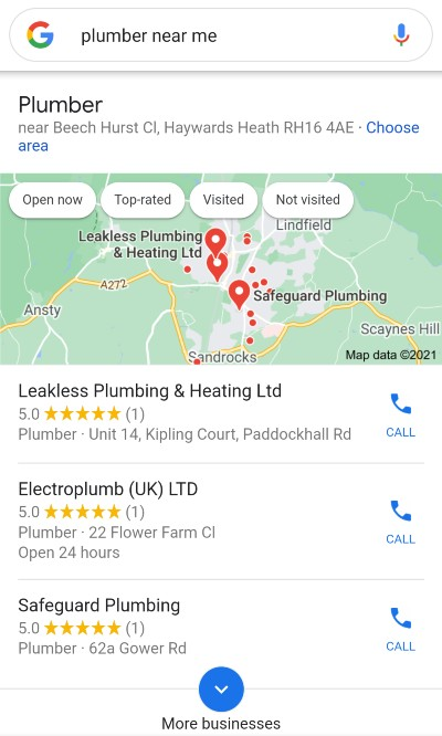 [plumber near me] mobile SERP, Local Pack
