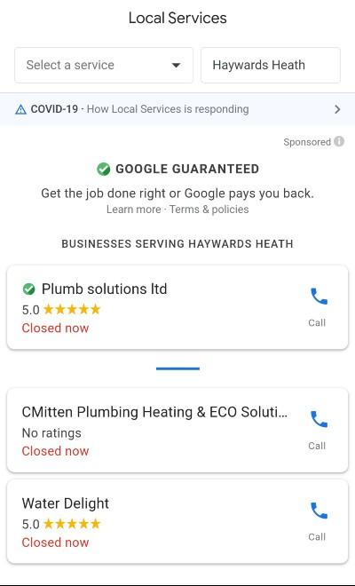 [plumber near me] mobile SERP, all LSA's