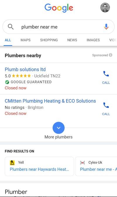 [plumber near me] mobile SERP, LSA's