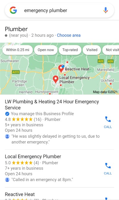 [emergency plumber] Local Pack mobile, 090421